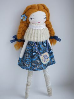 Rag cloth doll textile fabric doll handmade soft от CandyStones