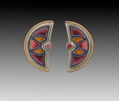 Sheila Beatty Fine Cloisonne Jewelry Palladium sterling silver with 14k gold & Rhodolite garnets