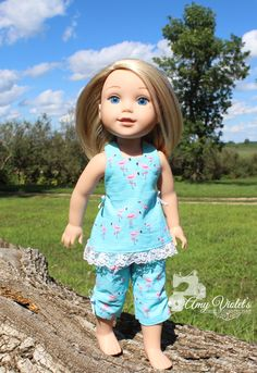Play Clothes for the 14 inch dolls such as WellieWishers Halter top and Capri pants sewn in Flamingo fabric by AmyViolets on Etsy