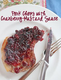 Pork Chops with Cranberry-Mustard Sauce | 5DollarDinners.com