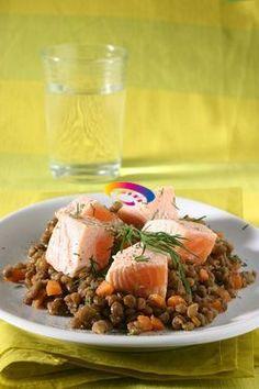 Salmone con lenticchie   Cucinare Meglio