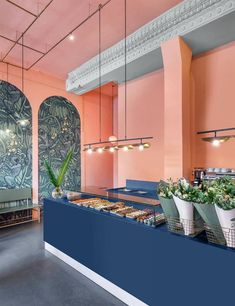 Find inspiration in the Corian Solid Surface photo gallery. From Seamless benchtops to facade cladding to thermoformed counters to backlit and engraved. Cafe Interior Design, Commercial Interior Design, Cafe Design, Commercial Interiors, Store Design, Interior Architecture, Design Interiors, Cafe Restaurant, Restaurant Design
