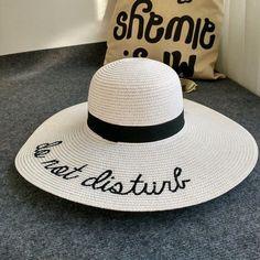 """Do Not Disturb"" Wide Brim Floppy Straw Panama Hat"