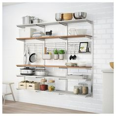 Buy IKEA KUNGSFORS Suspension rail with shelf/wll grid, stainless steel, ash. Inspired by professionals, adapted for you. Just like in a restaurant kitchen, we've focused on durable materials and smart wall storage. 7 Days Money Back Guarantee! Kitchen Wall Storage, Kitchen Ikea, Smart Kitchen, Ikea Kitchen Shelves, Awesome Kitchen, Kitchen Cabinets, Narrow Kitchen, Beautiful Kitchen, Open Kitchen