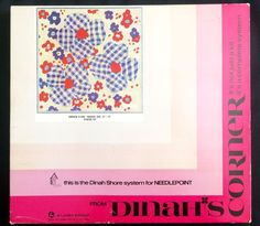 "Vintage Dinah Shore System Needlepoint Kit ""Gingham"" Blue Red Flowers 15"" x 15"" #Lyntex"