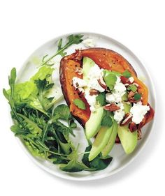 Loaded Baked Sweet Potato   Holy guacamole, you can do a lot with avocados. Delicious on everything from salmon to sweet potatoes (and full of heart-healthy monounsaturated fats), they're simply smashing.
