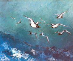 Mario Lupo, Volo di Gabbiani, 1975, olio su tela, 40 x 30 cm,  Milano