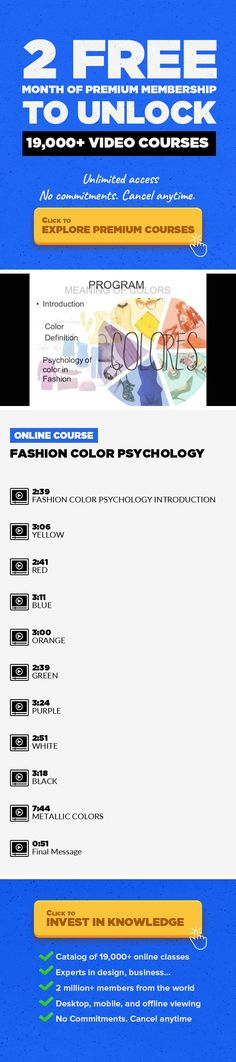Fashion Color Psychology Fashion Design, Drawing, Lifestyle, Creativity, Other #onlinecourses #onlinelessonslink #onlinelessonslearning    Hi! In this course I will teach you positive and negative menaings of colors in Fashion. In each color or group of colors you will realize creative exercises applied to fashion.I will be happy to receive your proposalsand tell you my suggestions. Colors...