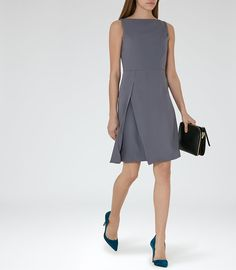 REISS - ASTER PLEAT-FRONT DRESS