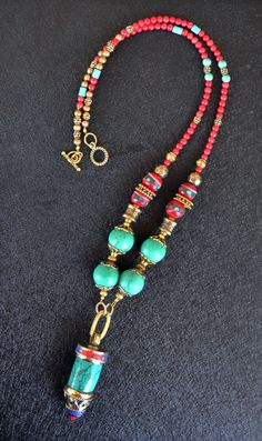 Tribal Necklace Nepalese Necklace Turquoise Nepal by LKArtChic