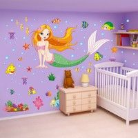 Wish | New Mermaid Princess Bedroom Wall Stickers Children Room Decoration Decals PVC Bathroom Waterproof Stickers ZHH355/e1 (Color: Multicolor)