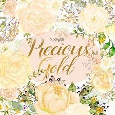 Gold Watercolor Flower Bouquet Clipart,Gold Roses, Precious Gold: Watercolor Flowers Clipart, hand painted Wedding clipart,frames,Invitation  Hand painted by me especially for you right here in the USA.  Delicately colored Gold Roses accented with Olive Greenery and Gray and Gold filler have been arranged for you into Bouquets. This gives beautiful Wedding Clipart to easily create wedding invitations, wedding cards, photos, posters, quotes and more.  THIS SET CONTAINS 5 files:  YOU WILL…
