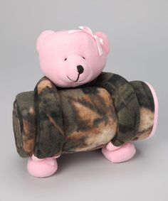 Take a look at this Trail Crest Pink & Olive Teddy Bear Plush Toy & Blanket by Camouflage Fashion: Women's & Kids on #zulily today!