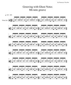 Here's an exercise to develop and improve your ability to play ghost notes on an eight-note groove, playing different bass drum combinations. Drum Sheet Music, Drums Sheet, Drum Lessons, Music Lessons, Drum Rudiments, Drum Notes, Learn Drums, Drums Electric, Drums Artwork
