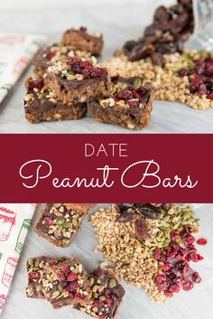These date peanut bars are so good and almost guilt free! I have been baking with dates so much lately and looooove them! These date peanut bars are made with Genuine Health fermented Greek yogurt proteins+, which is a super protein to use in your smoot Healthy Snack Options, Healthy Dessert Recipes, Yummy Snacks, Delicious Desserts, Yummy Treats, Healthy Snacks, Donut Recipes, Brownie Recipes, Chocolate Recipes