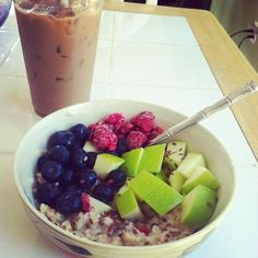 Breakfast: Oatmeal w/various fruits and ice-coffee yummy!!