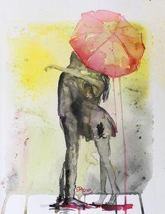 """Saatchi Online Artist: Sara Riches; Ink, 2013, Mixed Media """"Pink Rain"""""""