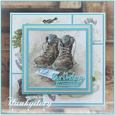 Crafting with Cotnob, Hunkydory, Hunkydory Adorable Scorable, Hunkydory Picture Perfect, Moonstone Multi-Aperture Frame Die Book And Frame, Handmade Birthday Cards, Handmade Cards, Hunkydory Crafts, Bear Card, Square Card, Fathers Day Cards, Create And Craft, Little Books