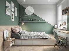 Colorful interior with connection: green, coral, blue & yellow decor . - Colorful interior with connection: green, coral, blue & yellow decor - Green Bedroom Design, Bedroom Wall Designs, Bedroom Green, Green Bedrooms, Bedroom Paint Design, Bedroom Yellow, Yellow Walls, Mint Bedroom Walls, Paint Ideas For Bedroom
