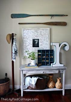 Vintage Entryway Decor - Trash to Treasure - The Lilypad Cottage