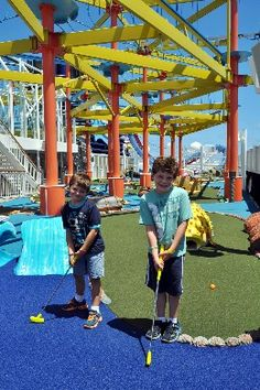 Lizz Dinnigan breaks down the family cruise experience onboard Norwegian Breakaway - check out the photo tour Caption: Miniature golf is just one diversion to keep kids occupied onboard Norwegian Breakaway.