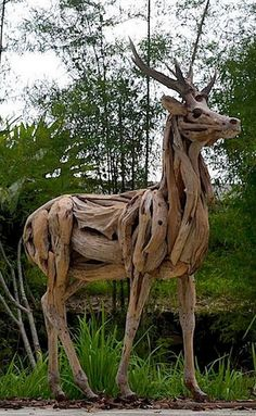 What do you think of this animal sculpture made with nothing more than driftwood?