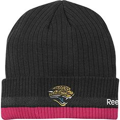Reebok Jacksonville Jaguars 2010 Breast Cancer Awareness Sideline Cuffed Knit Hat One Size Fits All  https://allstarsportsfan.com/product/reebok-jacksonville-jaguars-2010-breast-cancer-awareness-sideline-cuffed-knit-hat-one-size-fits-all/  60% cotton, 40% acrylic Ribbed, cuffed hat NFL® team logo on frontPink ribbon and NFL® shield on back
