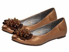Bronze Laura Ashley Pearl Bow Ballerina Girls Shoes