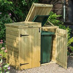 The stylish Apex Double Bin Store keeps wheelie bins out of sight and protected. Free delivery* on all wheelie bin storage. Small Front Gardens, Small City Garden, Sheds Direct, Bin Shed, Shiplap Cladding, Plastic Sheds, Bin Store, Cheshire, Metal Shed