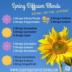 Spring is here! Try out these blends in your diffuser! To order Young Living Ess. Spring is here! Try out these blends in your diffuser! To order Young Living Essential Oils head to www. Essential Oil Diffuser Blends, Essential Oil Uses, Doterra Essential Oils, Natural Essential Oils, Young Living Essential Oils, Doterra Diffuser, Doterra Oil, Yl Oils, Aromatherapy Oils