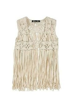 """Shop Women's Winter Kate Cream size S Vests at a discounted price at Poshmark. Description: Winter Kate """"Gypsy Rose"""" Macrame Fringed Vest, See description above Sold by krangele. Paracord, Macrame Dress, Macrame Curtain, Gypsy Rose, Fringe Vest, Crochet Clothes, Boho Fashion, Jackets For Women, Creations"""
