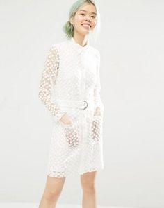 Monki Button Up Lace Shirt Dress