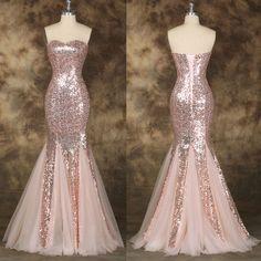2015 Sequins Long Mermaid Bridesmaid Formal Prom Dress Evening Wedding Ball Gown #GraceKarin #StretchBodyconBallGownMaxiDress #Cocktail