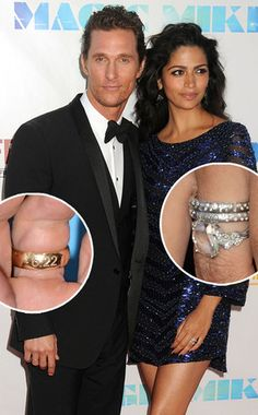 Camila Alves -- rose cut diamond engagement ring and wedding bands with flush-set diamonds.