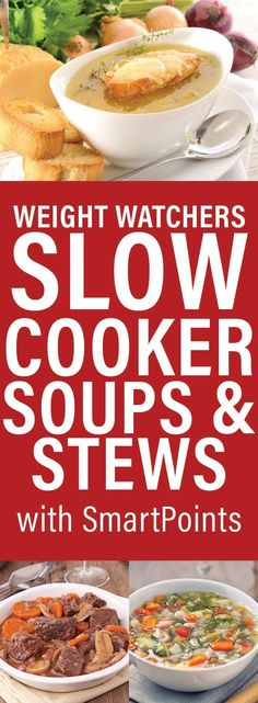 Weight Watchers Slow Cooker Soups & Stews With SmartPoints Weight Watchers Slow Cooker Suppen Source by . Weight Watchers Lasagne, Weight Watchers Menu, Weight Watcher Dinners, Weight Watchers Chicken, Healthy Slow Cooker, Slow Cooker Soup, Weigth Watchers, Smart Points, Healthy Soup Recipes