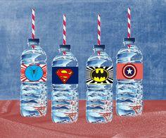 INSTANT DOWNLOAD Superhero Water Bottle Labels w/ Assortment of Superhero Logos, printable DIY water bottles, favors, bags, or party decor. $2.95, via Etsy.