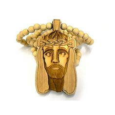 New Good Wood Jesus 2011 Pendant with Wood Ball Chain Natural