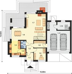 DOM.PL™ - Projekt domu ARP EMILIAN CE - DOM AP2-13 - gotowy koszt budowy Modern Small House Design, Modern House Plans, Classic House Exterior, 1, Floor Plans, How To Plan, Houses, Home Plans, Projects