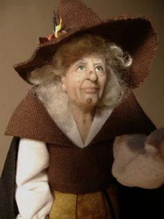 1:12 scale little brown witch made by Karin Smead.
