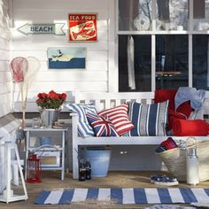 Red, White & Blue Beach House Porch, so beachy. Coastal Style, Coastal Decor, Nantucket Decor, Coastal Living, Les Hamptons, Deco Marine, House And Home Magazine, Porch Decorating, Decorating Ideas