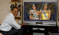 Taliana Vargas Miss Colombia y Dayana Mendoza Miss Venezuela en vivo Obama