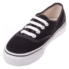 The Vans Authentic Black shoe is basic black at its best. This classic Vans shoe has an all-black canvas upper with white stitching, with a sturdy vulcanized outsole and Vans waffle grip sole.