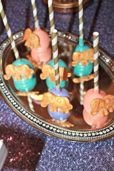 Elephant cake pops at a Bollywood birthday party! See more party ideas at CatchMyParty.com!