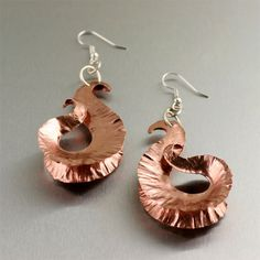 Fold Formed Copper Shell Earrings