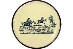Round Japanese Lacquer Tray w/ American Colonial Hunt Scene on @One Kings Lane by Ruby + George