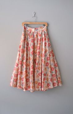 vintage floral skirt / midi skirt / Painted Poppies by DearGolden, $44.00