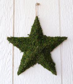 Stars decorate with floristry moss..maybe look for hearts, birds or nativity polystyrene shapes
