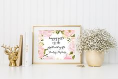 Happy Girls Are The Prettiest Girls Printable, Pink Girls Print Room Decor, Baby Shower Prints, Pink Nursery Wall Art, Audrey Hepburn Quote by OakCreekMarket on Etsy https://www.etsy.com/listing/489318009/happy-girls-are-the-prettiest-girls