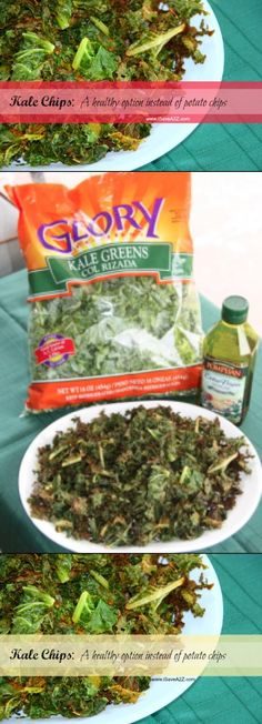 Kale Chips!  I tried these and they came out crunchy and delicious!  I don't even like kale!  WOW! - From http://pinterest.com/pin/144959681728478069/