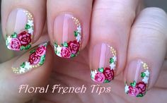 Side #Frenchmanicure in #floral #naildesign - For more easy #nails please visit: https://www.youtube.com/user/LifeWorldWomen Thank you